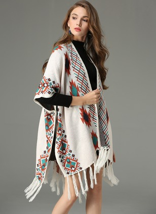Others Color Block Cape Tassel Sweaters