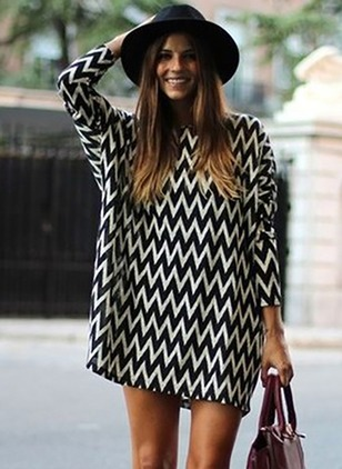 Stripe Long Sleeve Shift Dress