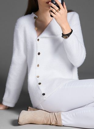 Collar Solid Elegant Tight Regular Buttons Sweaters (4101255)