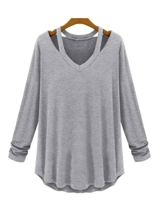 Solid Casual Cotton V-Neckline Ruffles Others Sweatshirts
