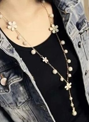 Casual Floral Pearls Pendant Necklaces (146700006)