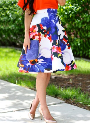 Polyester Floral Mid-Calf Vintage Skirts