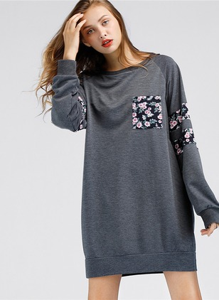 Color Block Embroidery Sweatershirt Long Sleeve Shift Dress