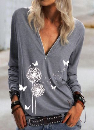 Floral V-Neckline Long Sleeve Casual T-shirts (146964095)