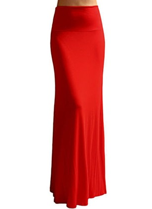 Polyester Solid Maxi Elegant Skirts