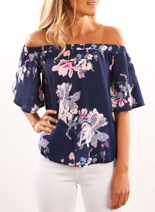 Floral Sexy Cotton Boat Neckline Short Sleeve Blouses