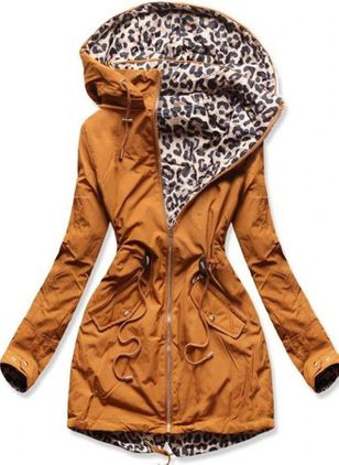 Leopard Casual Hooded Pockets Zipper Sweatshirts (118207012)