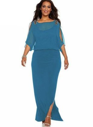 Plus Size Boho Solid Round Neckline Maxi Sheath Dress (1398913)