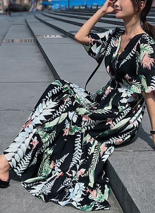 Floral Ruffles Half Sleeve Maxi Shift Dress
