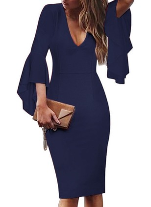 Solid Ruffles Pencil Knee-Length Bodycon Dress