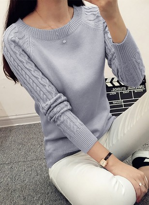 Round Neckline Solid Tight Others Sweaters