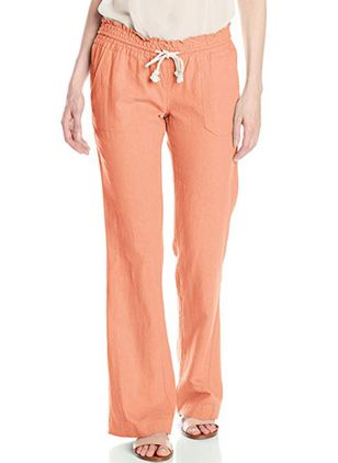 Casual Loose Pockets Mid Waist Cotton Blends Pants (131286784)
