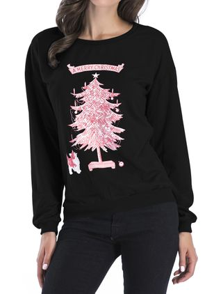 Animal Casual Round Neckline Sweatshirts (146798879)