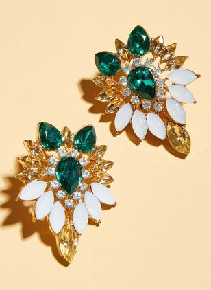 Vintage Floral Crystal Stud Earrings (147049146)