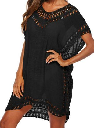 Polyester Solid Cover-Ups Swimwear (147082737)