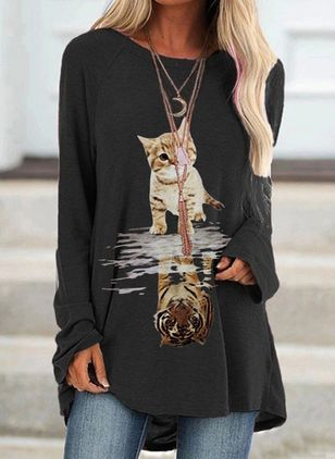 Animal Casual Round Neckline Long Sleeve Blouses (101986758)