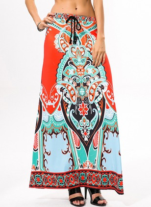 Polyester Floral Maxi Casual Skirts