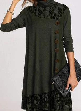 Casual Floral Tunic Draped Neckline Shift Dress (122028963)