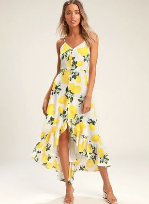 Floral Buttons Slip High Low X-line Dress