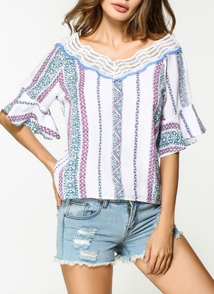 Stripe Casual Cotton V-Neckline Half Sleeve Blouses