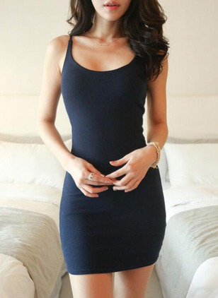 Solid Slip Sleeveless Mini Bodycon Dress