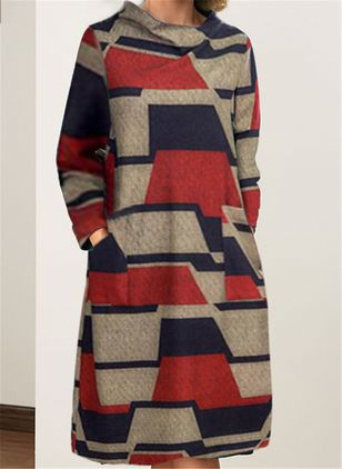 Casual Color Block Long Sleeve Knee-Length Dress (112602058)
