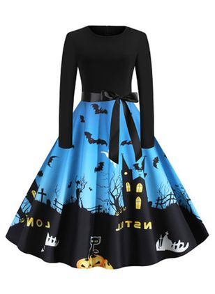 Halloween Color Block Round Neckline Midi X-line Dress (109973579)