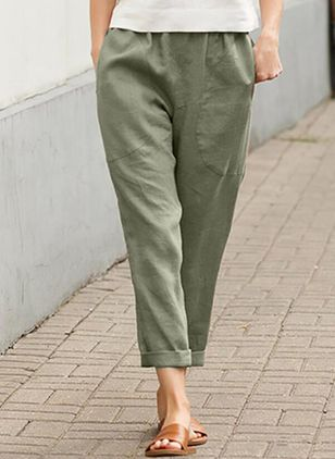 Casual Loose Pockets Mid Waist Polyester Pants (147242440)