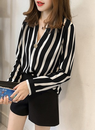 Stripe Casual V-Neckline Long Sleeve Blouses