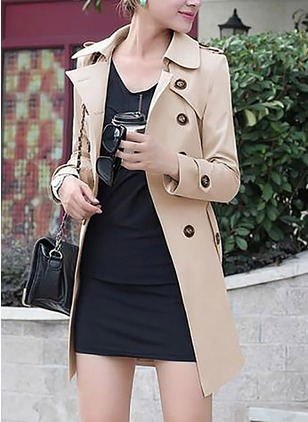 Cotton & Cotton Blend Long Sleeve Collar Pockets Trench Coats Coats & Jackets