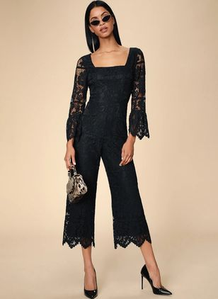 Solid 3/4 Sleeves Lace Jumpsuits & Rompers