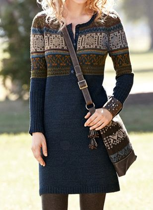 Casual Geometric Sweater V-Neckline Sheath Dress (146659309)
