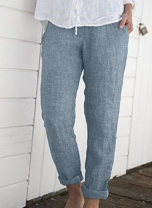 Casual Straight Pockets Mid Waist Cotton Linen Pants (147137130)