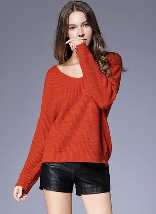 Acrylic V-Neckline Solid Casual Loose Sweaters