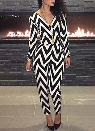 Polyester Stripe Long Sleeve Backless Jumpsuits & Rompers
