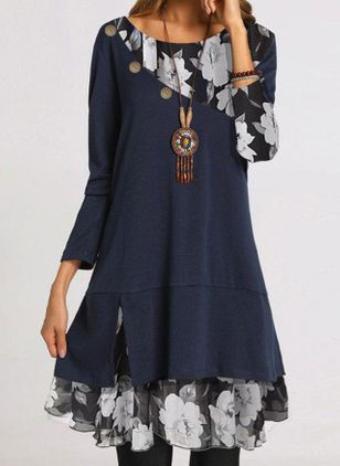 Casual Floral Tunic Round Neckline A-line Dress (118206953)