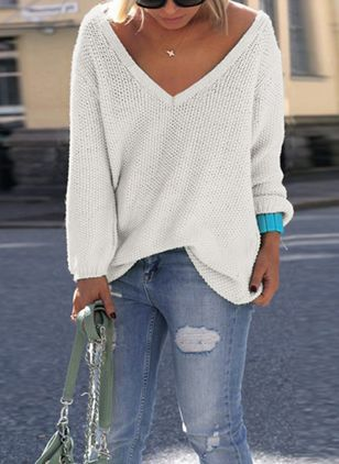 V-Neckline Solid Casual Regular Shift Sweaters (101986845)