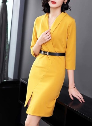 Solid Pencil 3/4 Sleeves Above Knee Sheath Dress