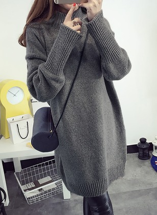 Polyester High Neckline Solid Casual Long Sweaters