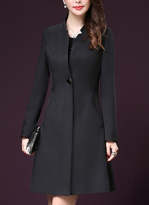 Long Sleeve Collar Buttons Pockets Trench Coats