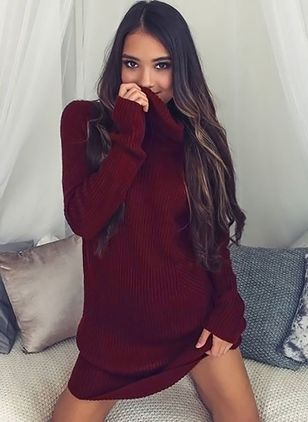 High Neckline Solid Loose Long None Sweaters