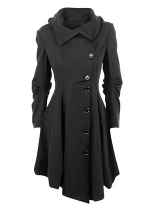 Long Sleeve Collar Buttons Pockets Coats (146650977)