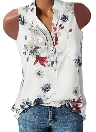 Floral Casual V-Neckline Sleeveless Blouses (4663088)