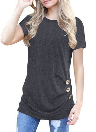 Solid Casual Knitted Round Neckline Short Sleeve Blouses