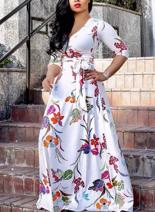 Cotton Floral Long Sleeve Maxi Dresses