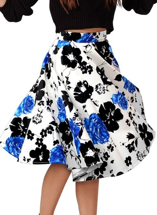 Polyester Knee-Length Casual Skirts