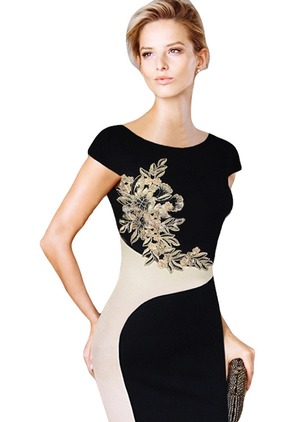 Floral Pencil Cap Sleeve Knee-Length Bodycon Dress