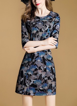 Floral Tshirt Half Sleeve A-line Dress