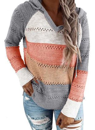 Hooded Color Block Casual Loose Regular Shift Sweaters (5610182)