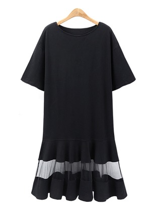 Cotton Blends Solid Short Sleeve Above Knee Dresses